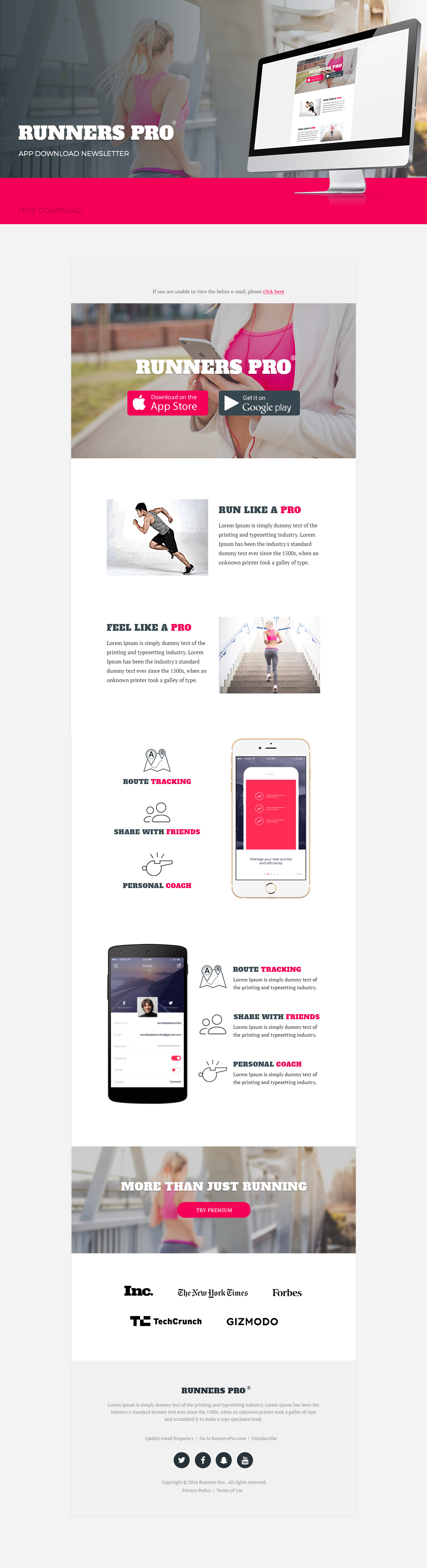Application Download Newsletter Psd Free Email Template