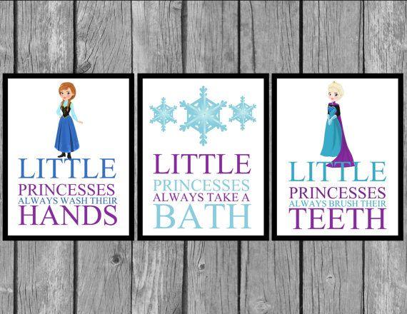 Awesome Disney Frozen Bathroom Prints/Frozen Room By LittleMissAvery1, $19.99