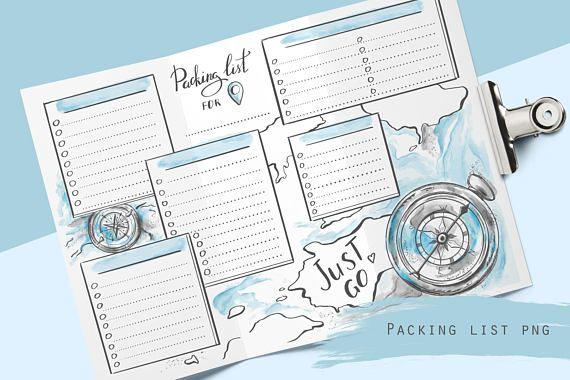 Druckbare Reise-Packliste für Planer und Reisetagebuch Ferien- oder Urlaubscheckliste PDF Seite einfügen Packplaner-Reise-Checkliste   – Bulletin-Journal/Tagebuch/Kalender