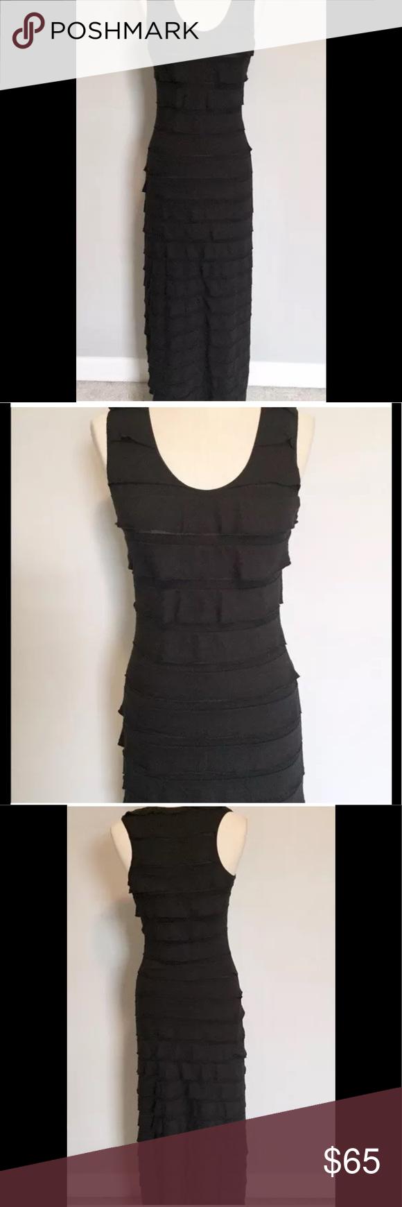 Max studio black scalloped fitted dress nwt black ruffle ruffle