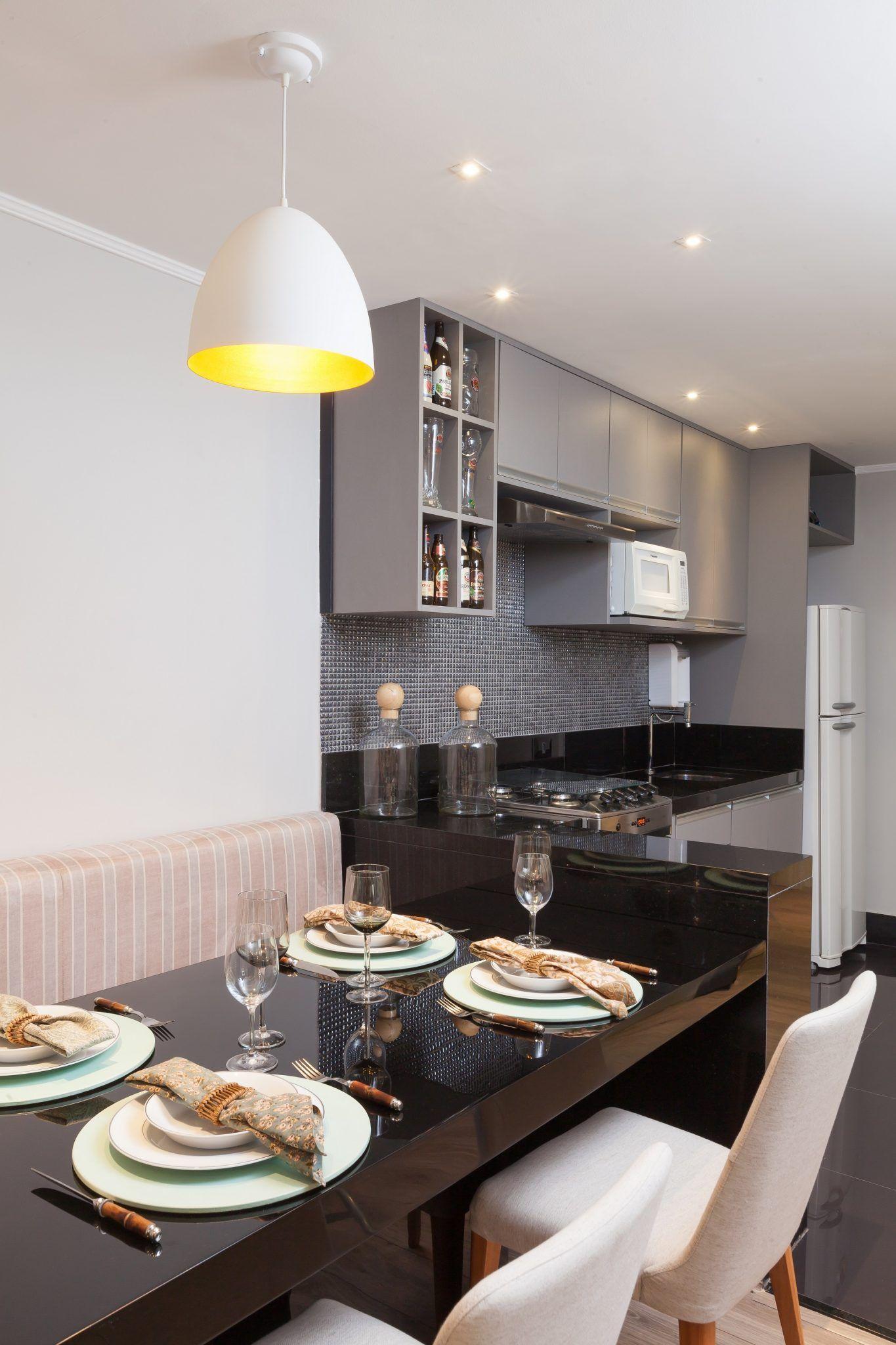 Ambientes integrados deixam apartamento pequeno mais amplo for Decoracion sala apartamento pequeno
