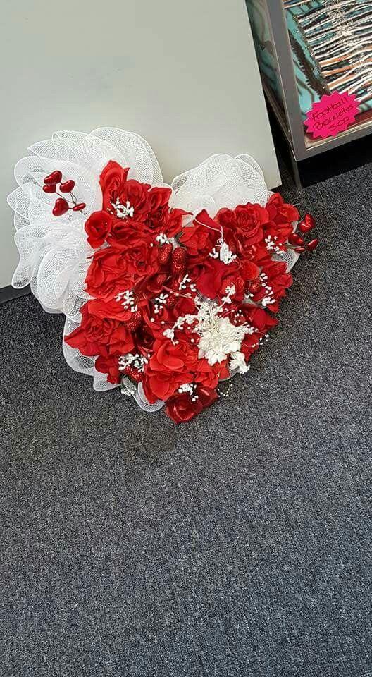 Heart mesh wreath