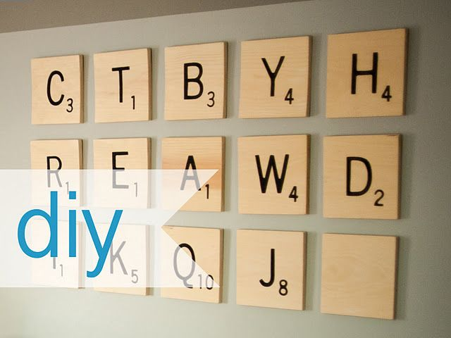 Over-sized scrabble tile wall art. I would spell out cute messages ...