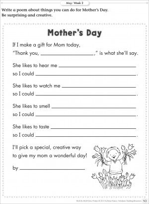 Free Printable Fill In The Blank Mother S Day Poem Deal Icious Mom Picture Writing Prompts Writing Prompts Poetry Creative Writing Prompts Fill in blank poetry worksheets