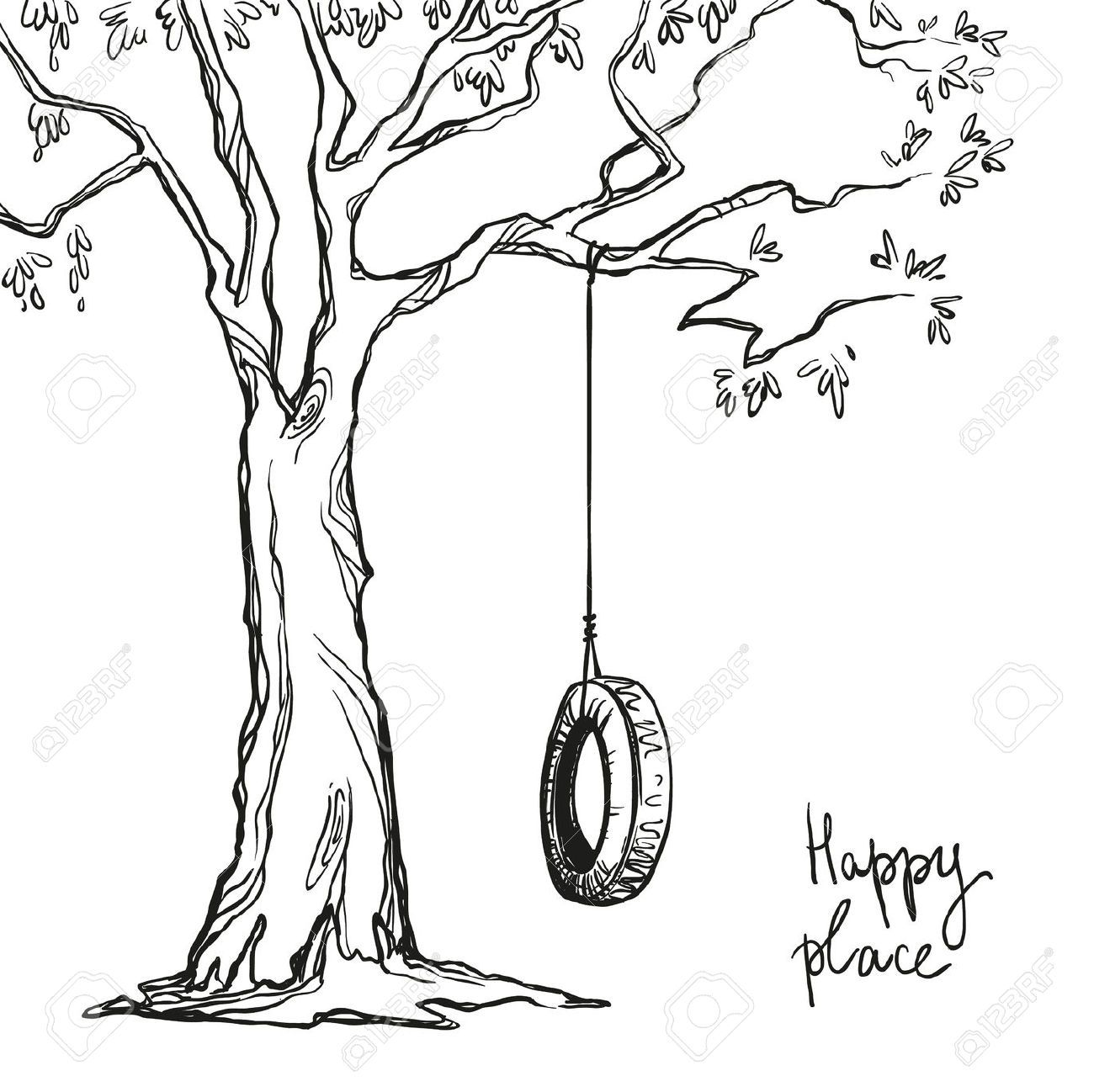 Tyre Swing Tree Drawing Inspo Mini Drawings Tree Coloring Page