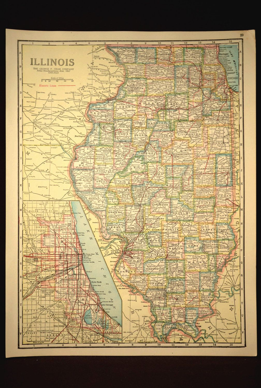 TWO SIDED Antique Road Map Illinois Map Original Highway Roadway ...