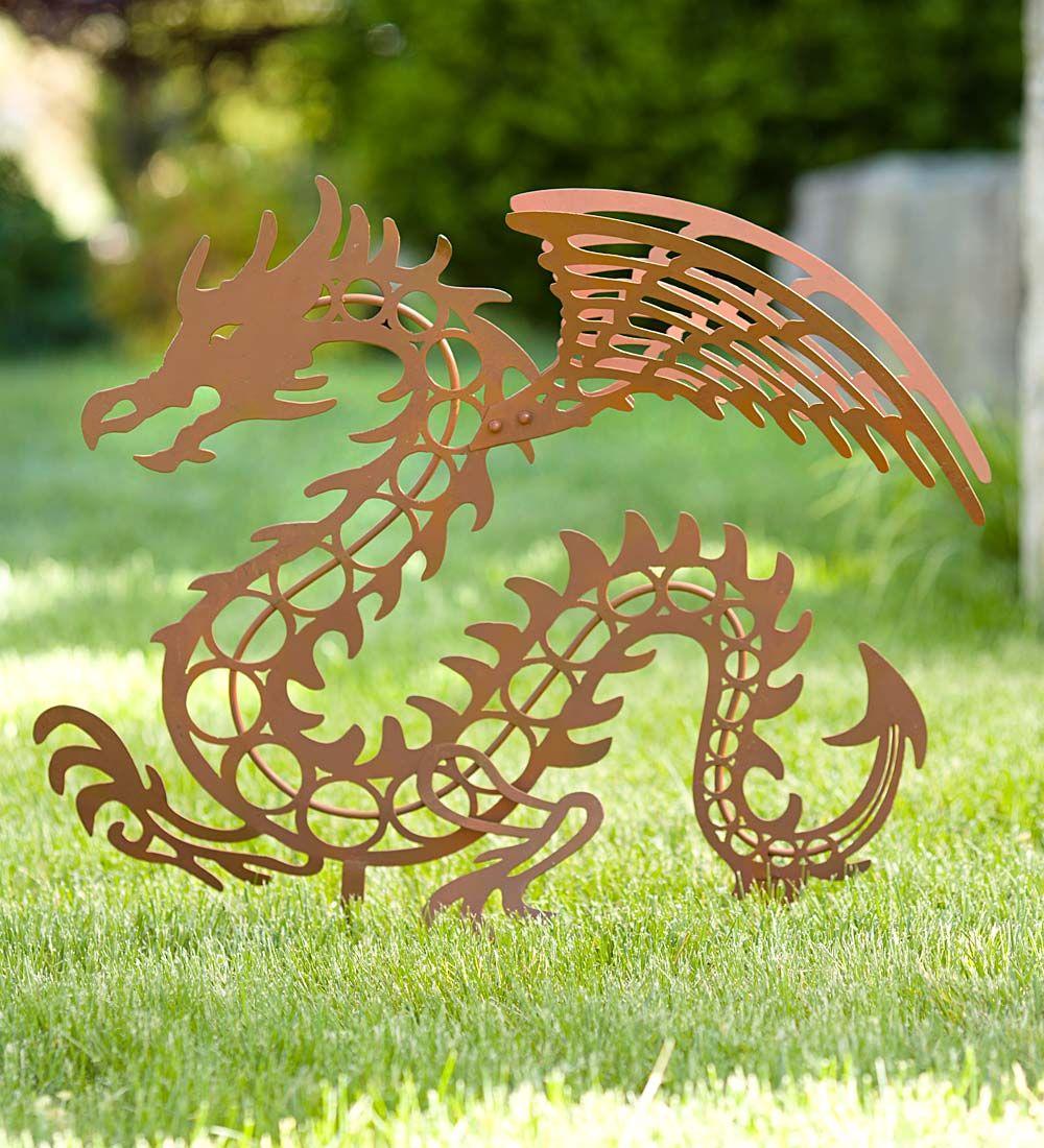 Rusted Metal Dragon Garden Stake In Metal Yard Sculpture