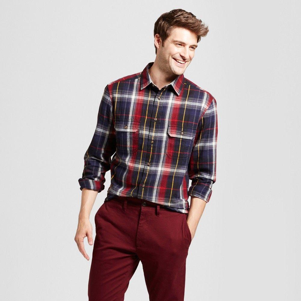 Flannel shirt party  Menus Standard Fit Twill Plaid Flannel Shirt  Goodfellow u Co Navy
