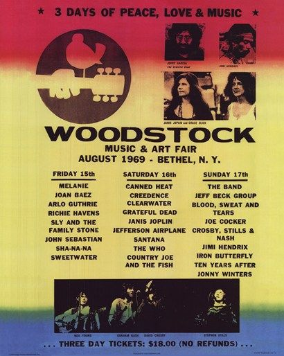 Woodstock Line Up Woodstock Music Woodstock Poster Woodstock