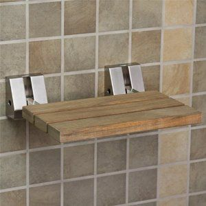 Wall Mount Teak Wood Folding Shower Seat Brushed Nickel By