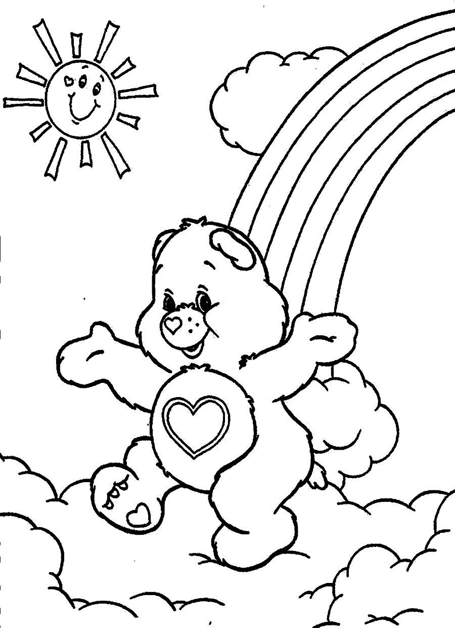 Care Bears Running Above The Clouds Care Bears Coloring Pages