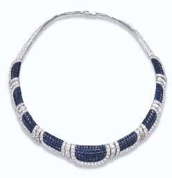 """A """"MYSTERY SET"""" SAPPHIRE AND DIAMOND """"PALOMA"""" NECKLACE, BY VAN CLEEF & ARPELS COLLIER """"PALOMA"""" EN """"SERTI MYSTERIEUX"""" SAPHIRS ET DIAMANTS, PAR VAN CLEEF & ARPELS"""