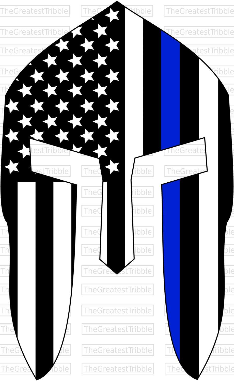 Spartan Helmet Front Thin Blue Line USA Flag American Flag