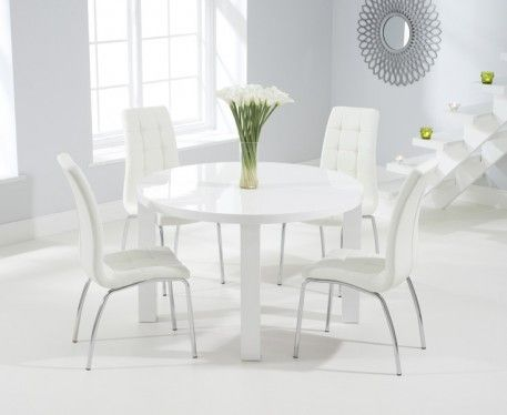 Atlanta 120cm Round White High Gloss Dining Table With Calgary Chairs Glass Dining Table Circle Dining Table Glass Round Dining Table