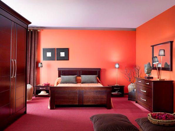 Chambre orange bois exotique  Dco interieure  Pinterest