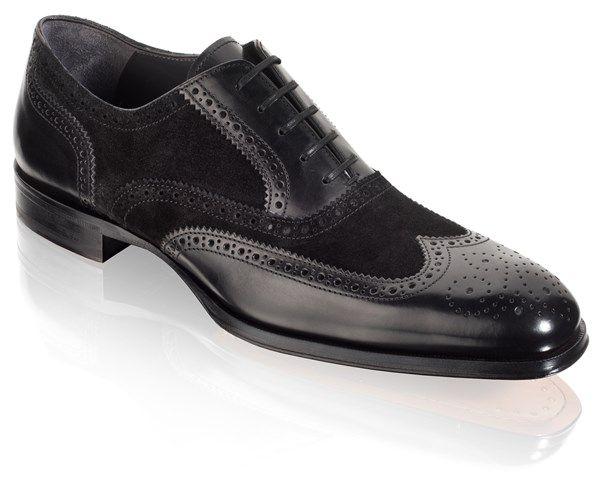 Handmade Men Black Wingtip Suede And Leather Formal Shoes Men