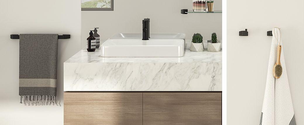 Taymor Luna faucet & Tenor towel bar/robe hook in Satin Black ...