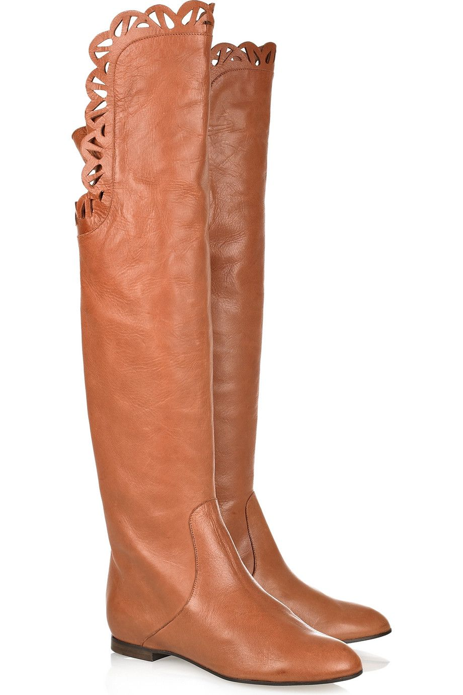 CHLOÉ Cutout flat leather boots
