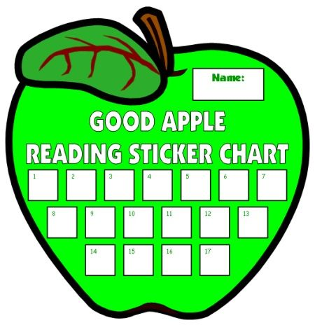 Apple Sticker Charts For Reading Reading incentive charts with - incentive chart template