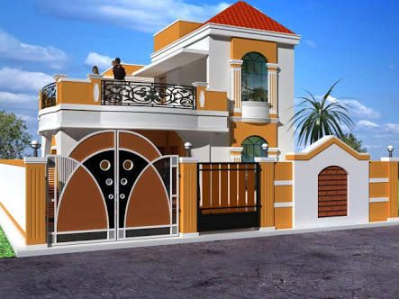 Image Result For Elevations Of Independent Houses Beautiful House Plans Independent House Brick House Designs
