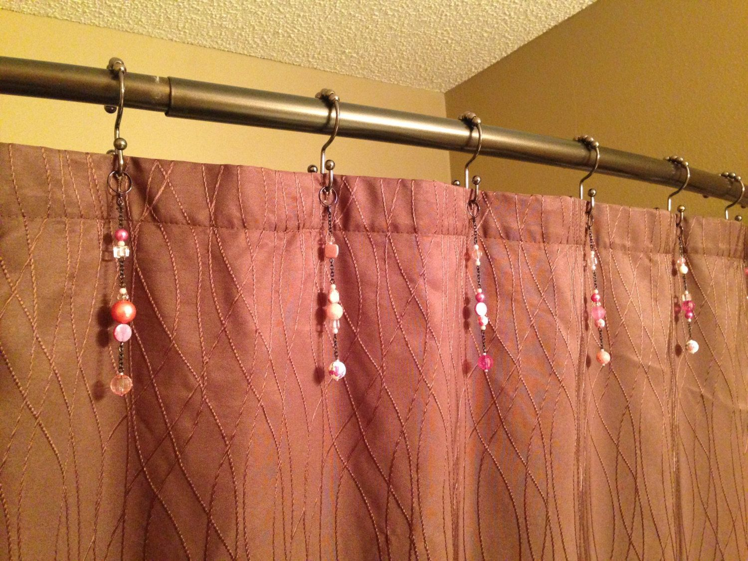 Pink Shower Curtain Hook Decoration With Black Chain For The Bathroom. Over  5 Inches Long