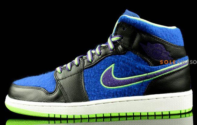 Men's Nike Air Jordan 1 Mid Bel Air Blue Black Purple Neon Sneakers : N68j3312
