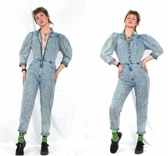 459be9b0c5 Denim Jumpsuit. 80s Denim Jumpsuit. Womens Denim Jumpsuit. Size 4 80s Acid  Wash Denim Coveralls. Womens Denim Romper. Acid Wash Jumper