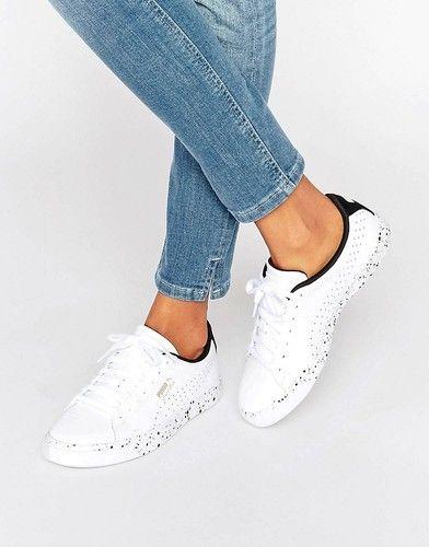 Puma - Weiße Ledersneaker mit gefleckter Sohle - Weiß