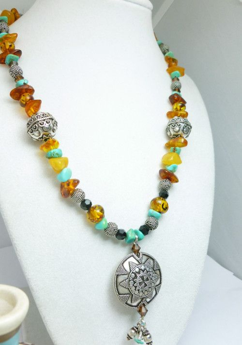Turquoise Amber Nugget Gemstones Sterling Beaded Necklace