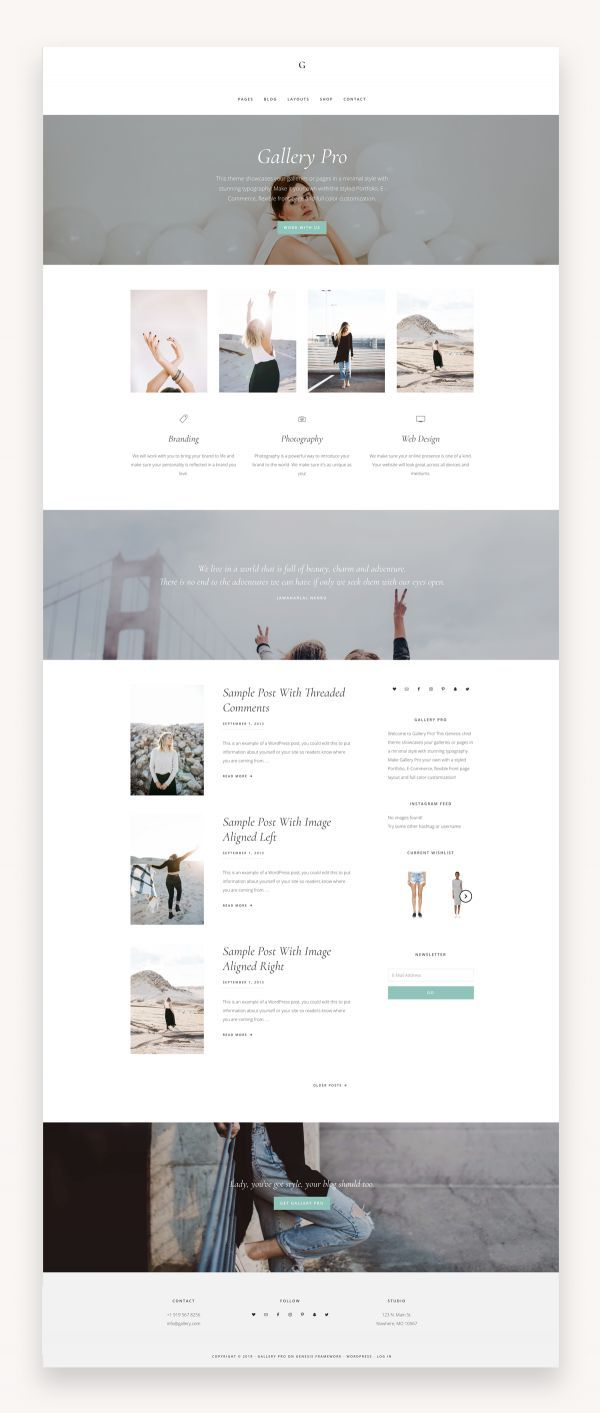 Gallery Pro  Genesis Child Theme  Market WP Themes Gallery Pro  Genesis Child Theme Gallery Pro is minimal yet feminine theme for your website or blog It offers a warm we...