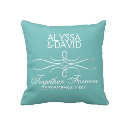 Modern Classy Flourish Custom Wedding Pillow #tiffanyblue #aqua