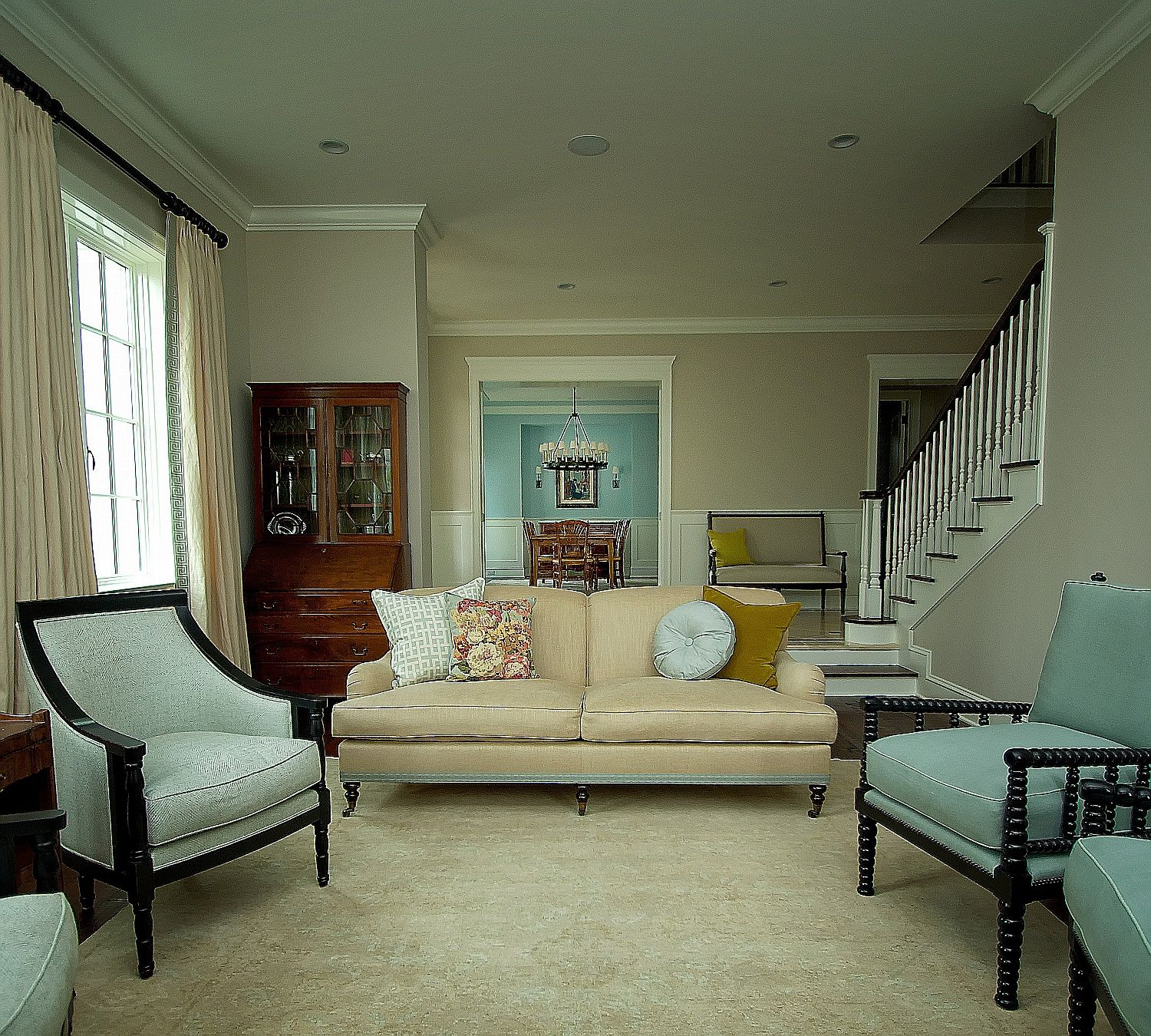 cape cod living rooms traditional east coast cape cod living room view to dining room - Cape Cod Living Room