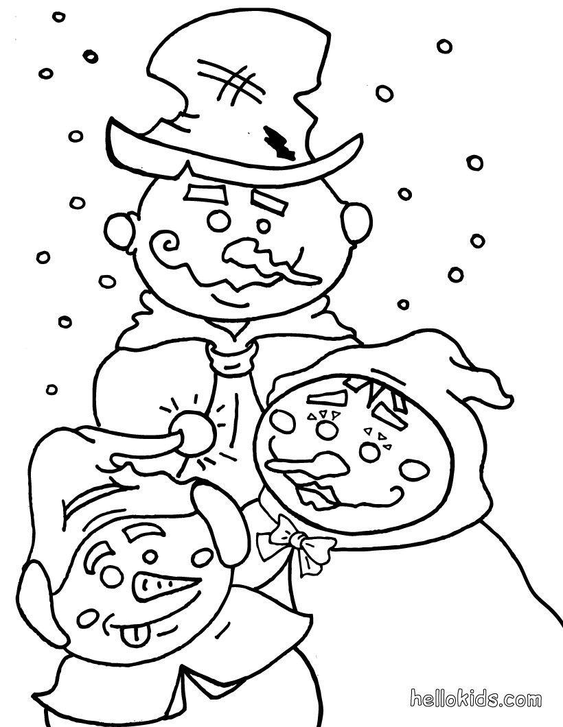 snowmen coloring page | Color me pretty - Snowmen | Pinterest