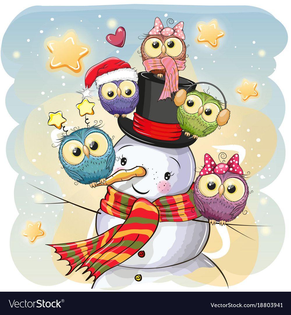 Snowman and five cute cartoon owls vector image on Рисунки