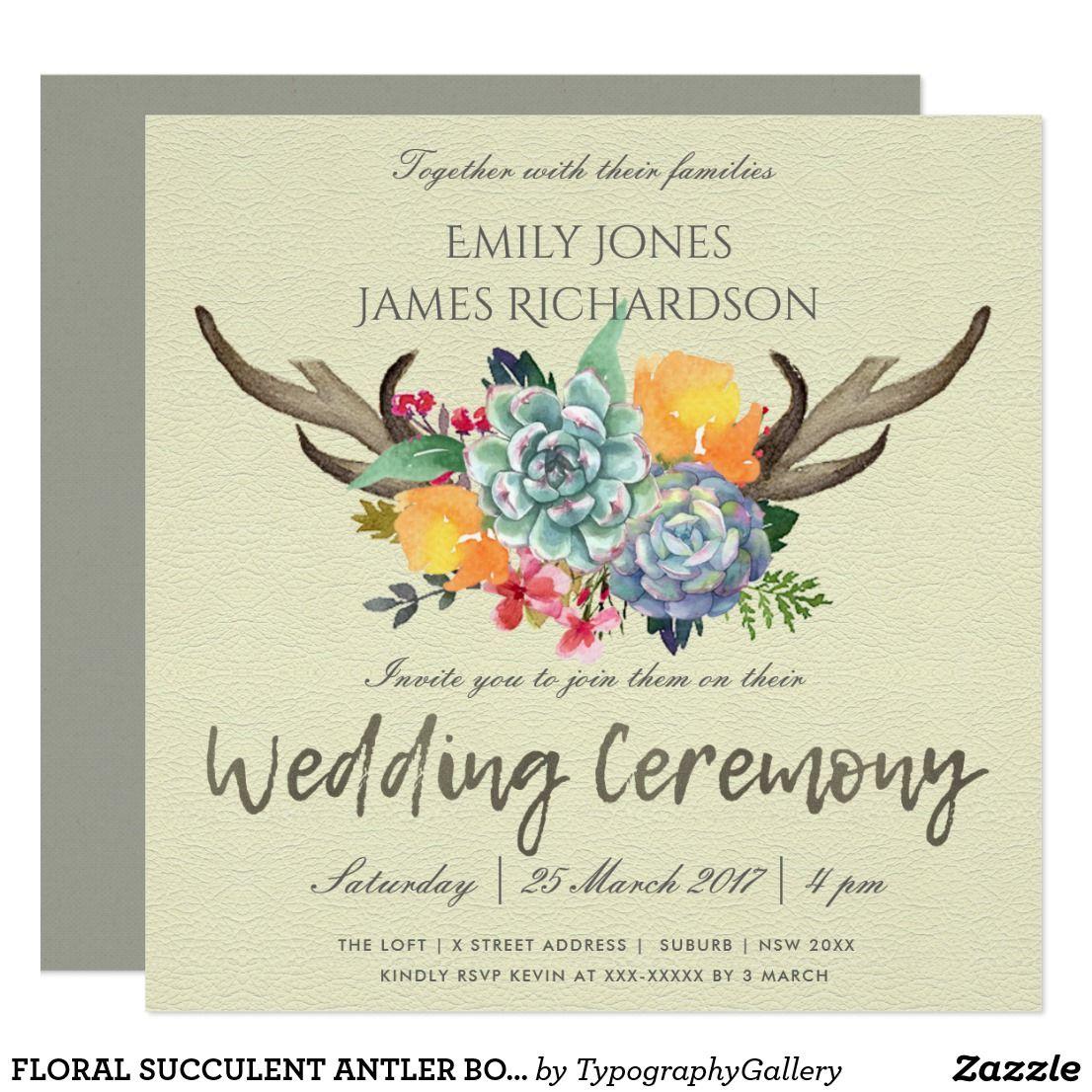 Floral Succulent Antler Bohemian Allure Wedding Invitation