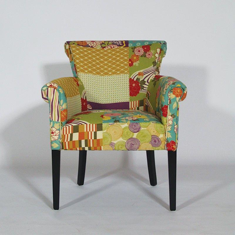 Fauteuil Patchwork Floral En Bois Et Tissu Coton Httpwwwmadein - Meuble fauteuil