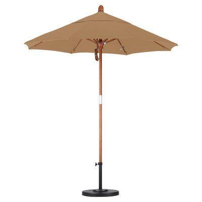 California Umbrella 7.5' Market Umbrella Fabric: Olefin-Straw, Frame Finish: Marenti Wood