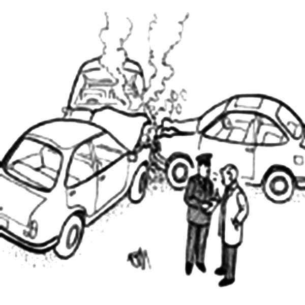 Three Cars Crashed Each Other Coloring Pages Netart
