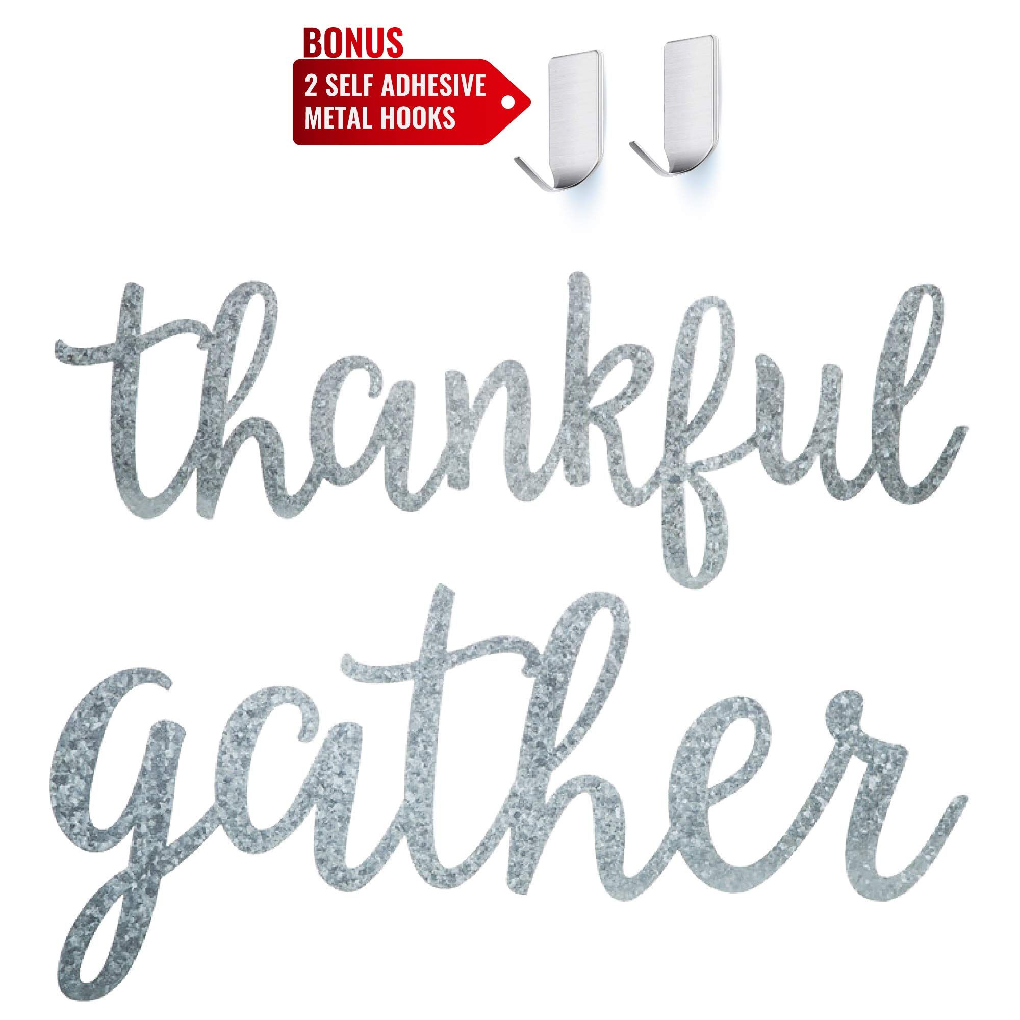 Gather Thankful Galvanized Metal Signs In 2020 Adhesive Wall Hooks Metal Signs Sign Art
