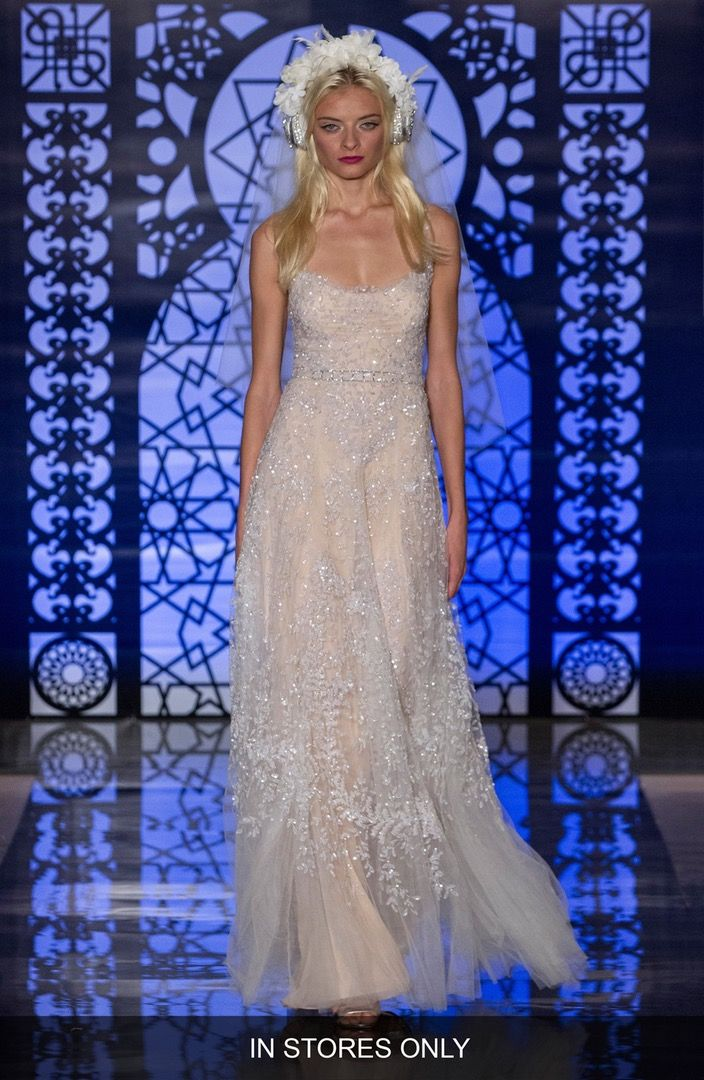 Reem Acra 'Chloe' Beaded & Embroidered A-Line Dress