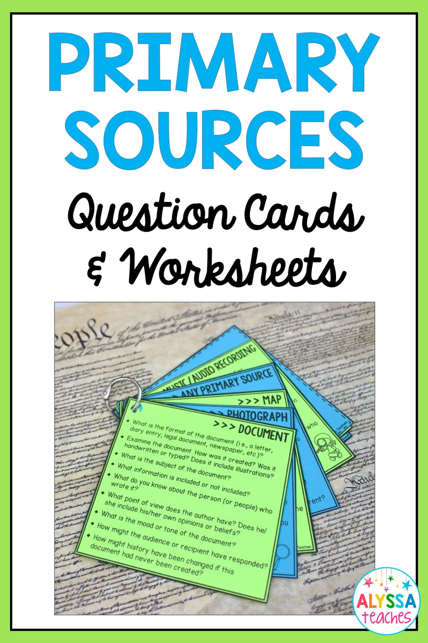 Primary Sourceysis Question Cards Amp Worksheet