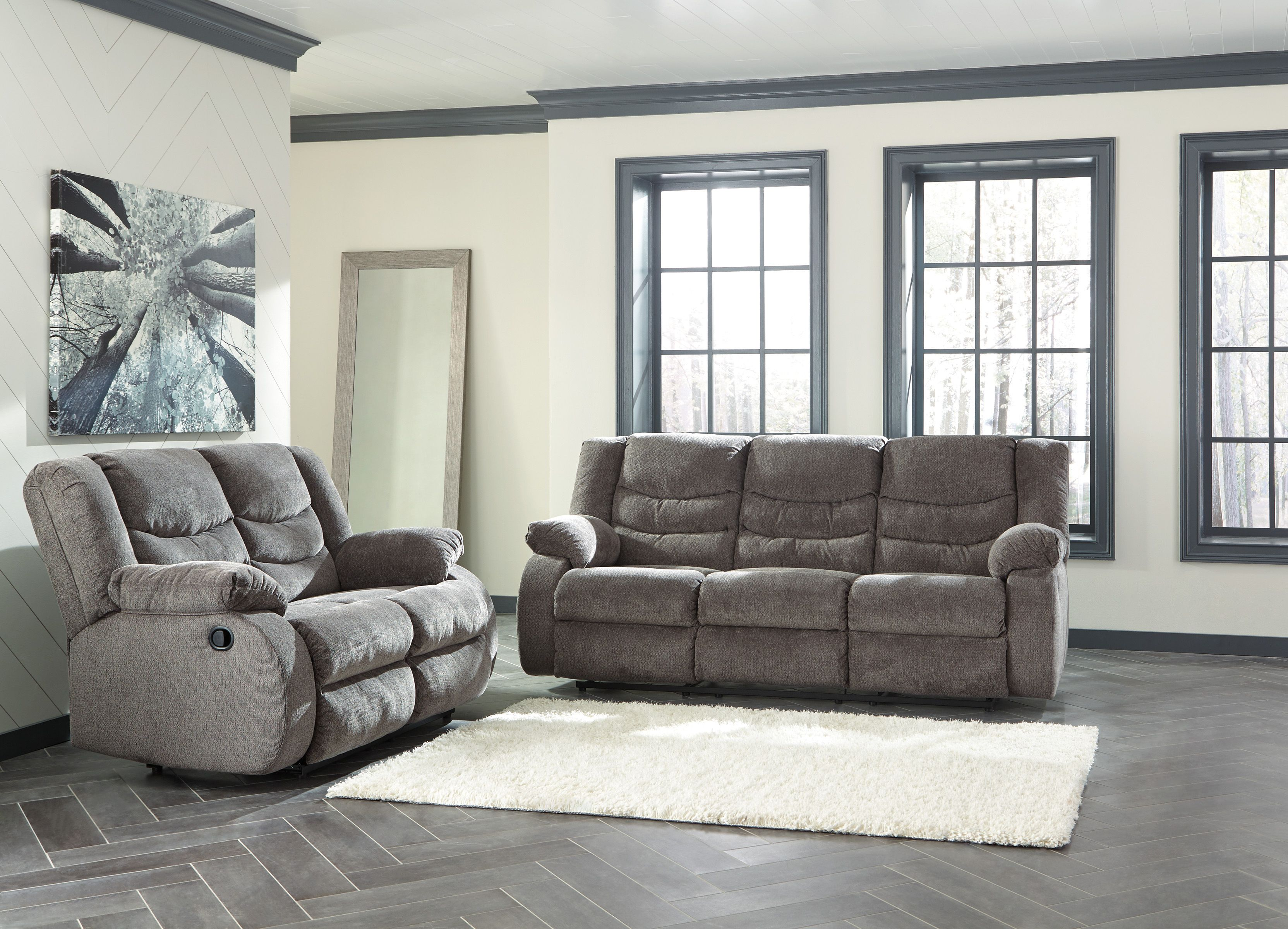Admirable Tulen Gray Reclining Sofa And Loveseat Set Living Room Beatyapartments Chair Design Images Beatyapartmentscom