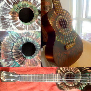 skullulele Guitar painting, Hand painted