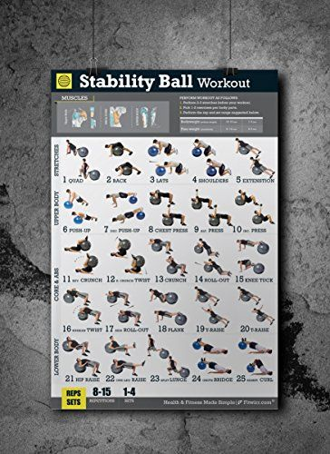 Exercise Ball Workout Poster - Total Body Workout - Your Personal Trainer Fitness Program for Men - Swiss, Yoga, Balance & Stability Ball Home Gym Poster - Tone Your Core, Abs, Legs Gluts & Upper Body