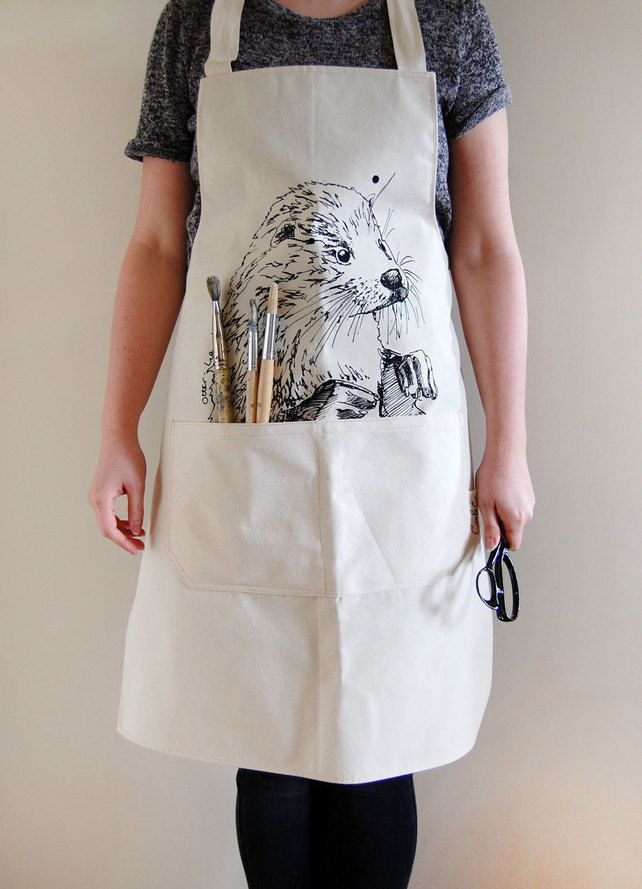 full canvas apron screen printed with an otter £25.00 | n ...
