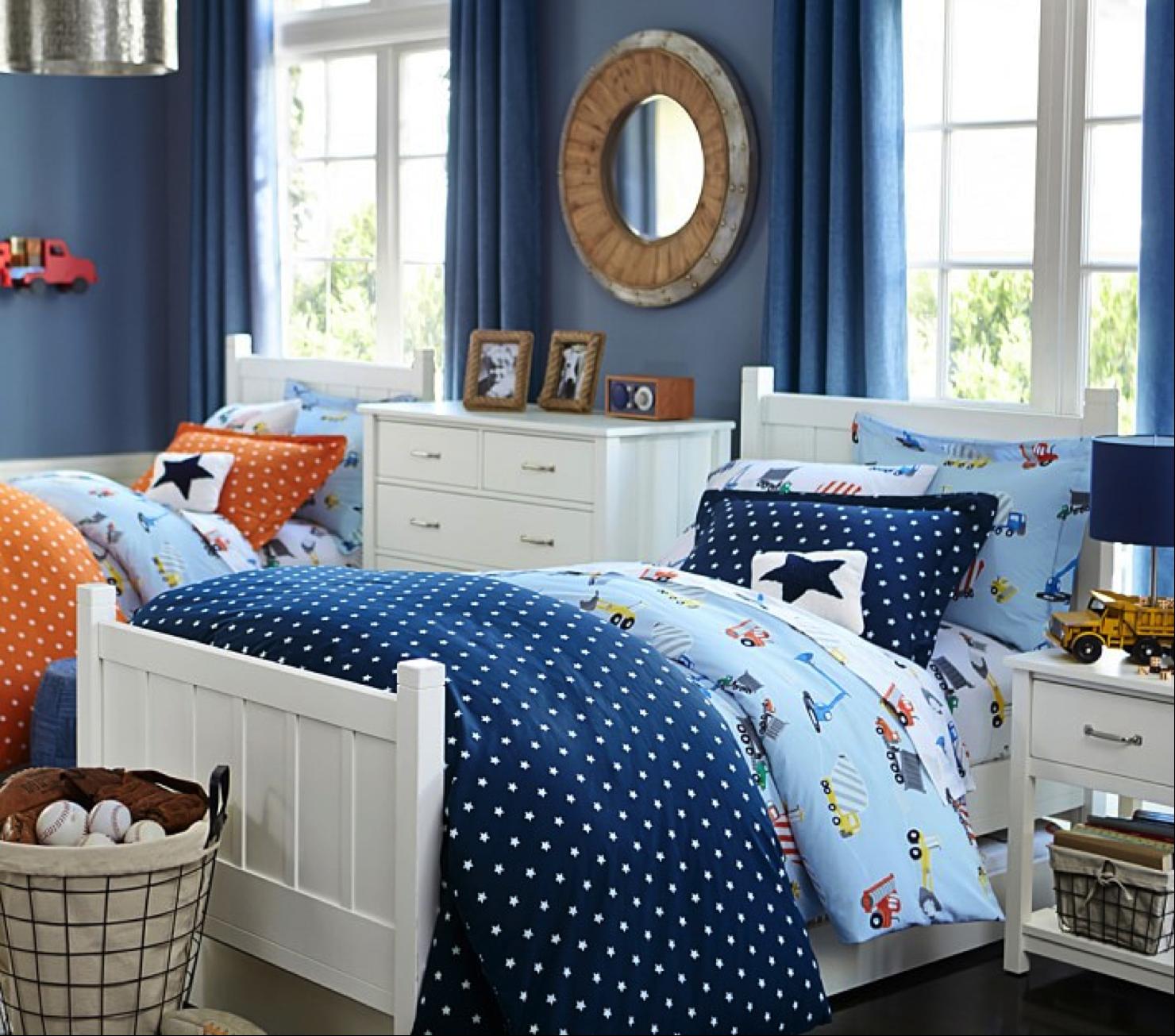 Preciosa habitación en azul y naranja, ideal para #gemelos ...