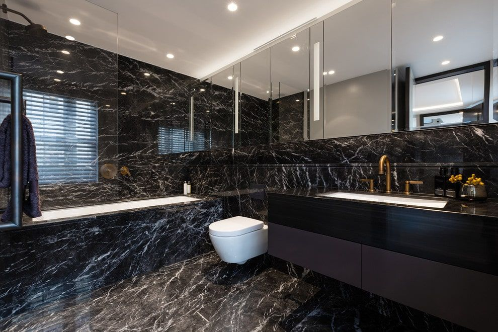 50 Black Primary Bathroom Ideas Photos Small Bathroom Interior Black Marble Bathroom Bathroom Design Luxury