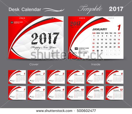 Set Red Desk Calendar  Template Design Cover Desk Calendar