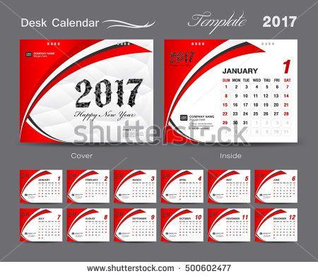 Set Red Desk Calendar  Template Design Cover Desk Calendar
