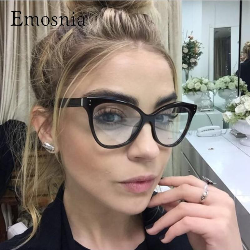 acaa3a4f2e Emosnia New Korean Sunglasses Cat Eye Glasses Frames Women Vintage Optical  Computer Protection brand Design Eyewear
